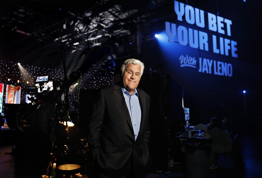 """Jay Leno is photographed on the set of his new game show, """"You Bet Your Life,"""" in Pacoima"""