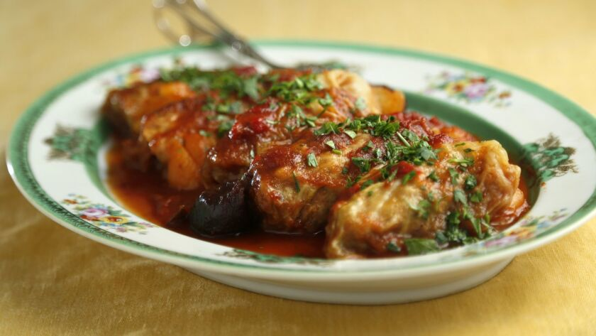 Stuffed cabbage for Rosh Hashanah by Caron Golden on August 16, 2018. (Photo by K.C. Alfred/San Dieg