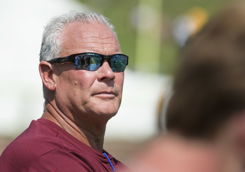 FILE - In this Sept. 2017, file photo, Missouri State head coach Dave Steckel watches his team play Missouri during an NCAA college football game in Columbia, Mo. Missouri State University and football coach Dave Steckel are parting ways, the university announced Thursday, Jan. 9, 2020. Steckel, a former defensive coordinator at the University of Missouri, was 13-42 in five seasons at Missouri State.(AP Photo/L.G. Patterson, File)