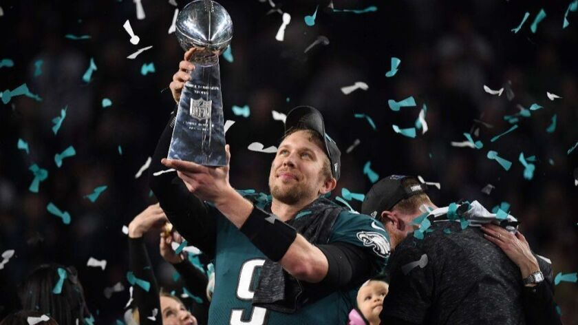 Philadelphia Eagles quarterback Nick Foles celebrates in February after leading his team to victory in Super Bowl LII against the New England Patriots.