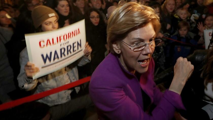 GLENDALLE, CALIF. - FEB. 18, 2019. Presidential candidate Elizabeth Warren greets an overflow crowd