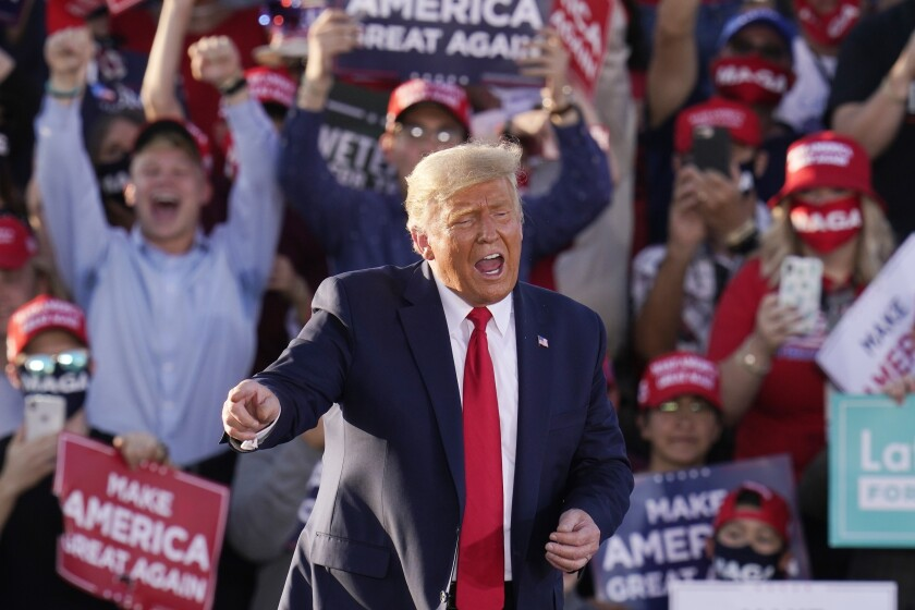 President Trump at a campaign rally Monday in Tucson.