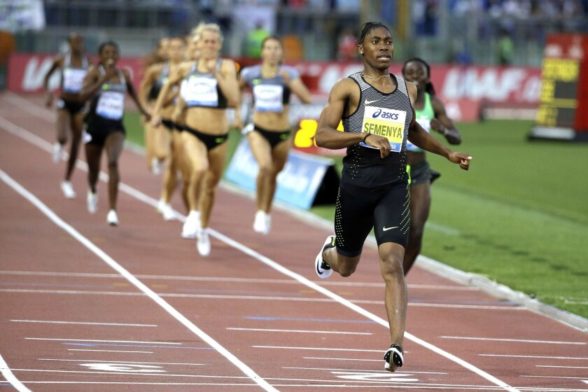South Africa's Caster Semenya crosses the finish line after winning the the women's 800m event at the Golden Gala IAAF athletic meeting, in Rome's Olympic stadium, Thursday, June 2, 2016. (AP Photo/Gregorio Borgia)