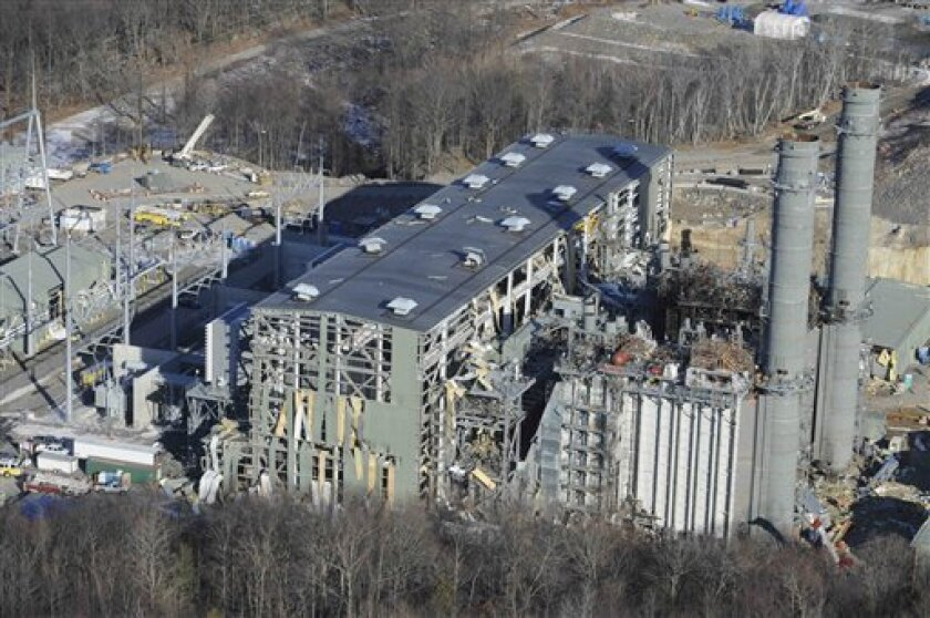 The Kleen Energy plant is seen in this aerial photo after an explosion in Middletown, Conn., Sunday, Feb. 7, 2010. (AP Photo/Jessica Hill)