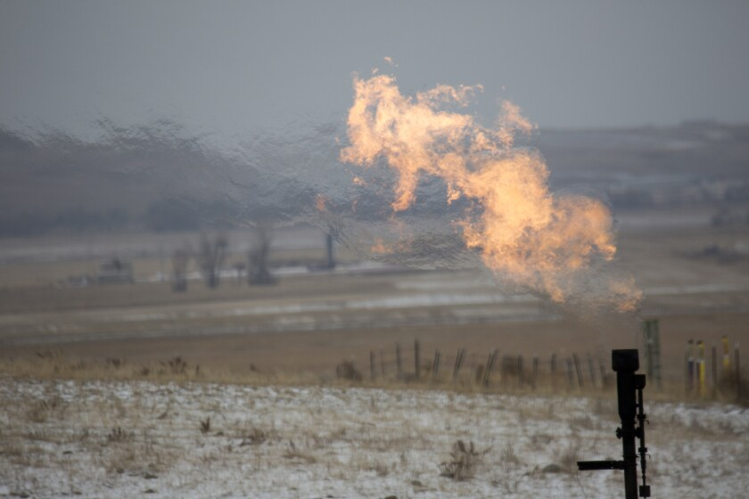Flaring at an oil well.