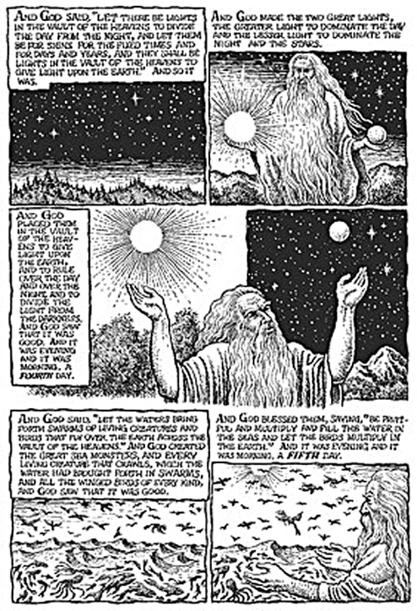 """In the introduction to """"The Book of Genesis Illustrated,"""" R. Crumb writes that he """"approached this as a straight illustration job, with no intention to ridicule or make visual jokes."""""""