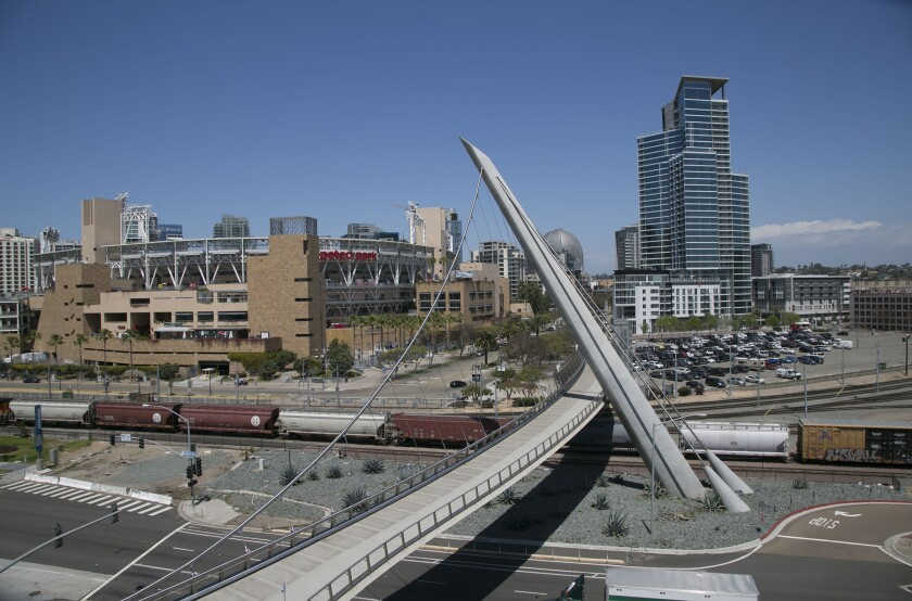 The Harbor Drive pedestrian bridge, pictured here, was completed in 2011. The bridge's vehicular counterpart, an at-grade crossing that connects Park Boulevard with Harbor Drive, has been tripped up by bureaucratic and financing challenges.