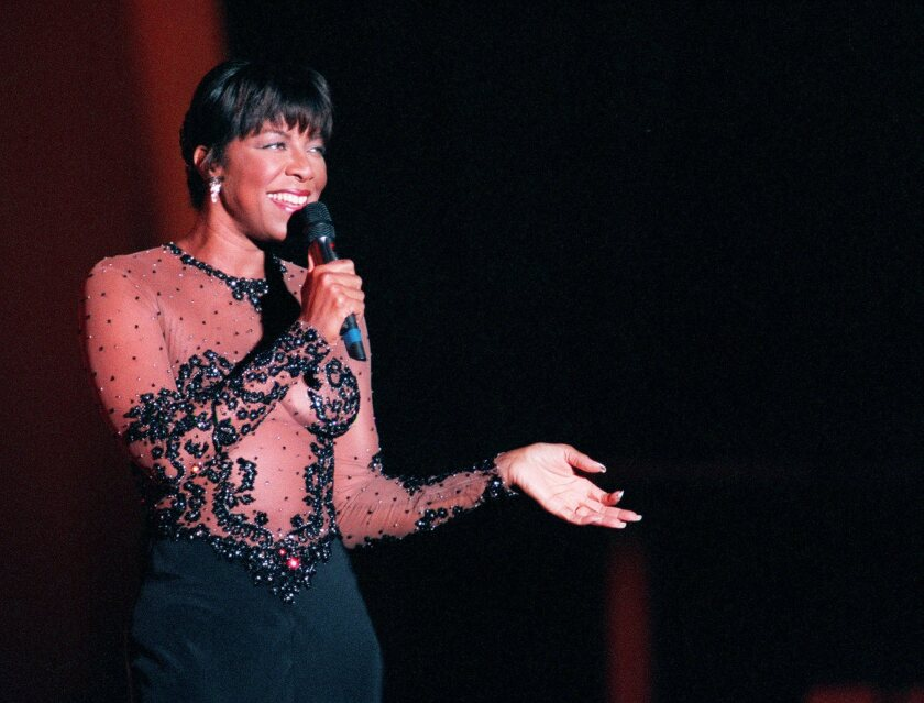 Natalie Cole sings at the Hollywood Bowl.