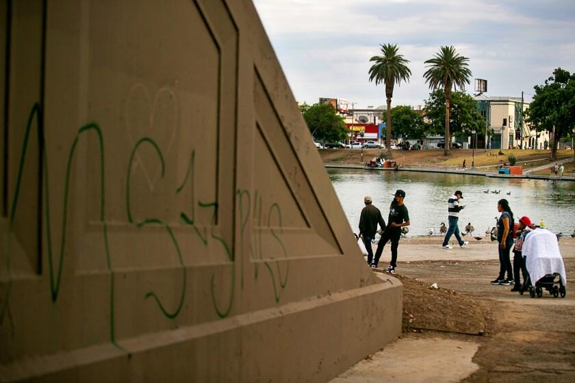 Gang graffiti in MacArthur Park.