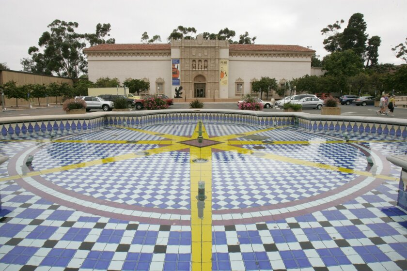 The fountain in the center of the Plaza de Panama is currently a mere traffic circle in front of the San Diego Museum of Art. The plaza would be closed to parking under a plan by Mayor Bob Filner. (2010 photo)