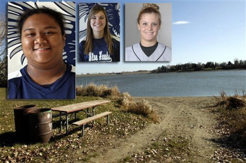 Photos of the women who died are inset over an image of the Patterson Lake Recreation Area in Dickinson, North Dakota on Tuesday. From left, Kyrstin Gemar, 22, of Grossmont, Ashley Neufeld, 21, of Brandon, Manitoba in Canada, and Afton Williamson, 20, of Lake Elsinore.