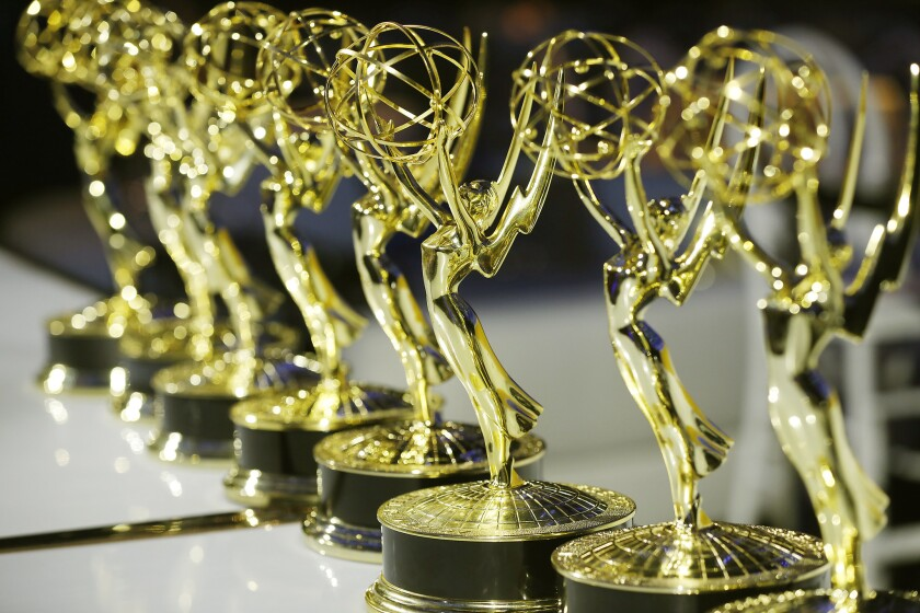 LOS ANGELES, CA - SEPTEMBER 06, 2018: Real Emmy Award statues were in attendance under thousands of