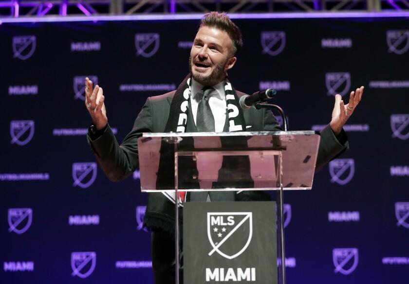 David Beckham en el anuncio de su equipo en la MLS; el club tiene el respaldo de 'Becks' y un grupo de inversionistas.