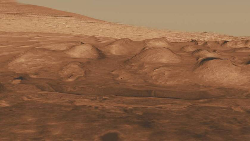 Sediments in Gale Crater, above, and other parts of Mars suggest that a change in the planet's tilt led to the explosive eruption of methane, triggering large-scale warming on the Red Planet.