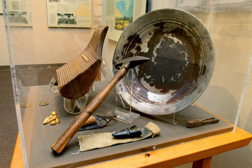 Miner's tools are on display at the California Gold Rush exhibit at the Temecula Valley Museum.