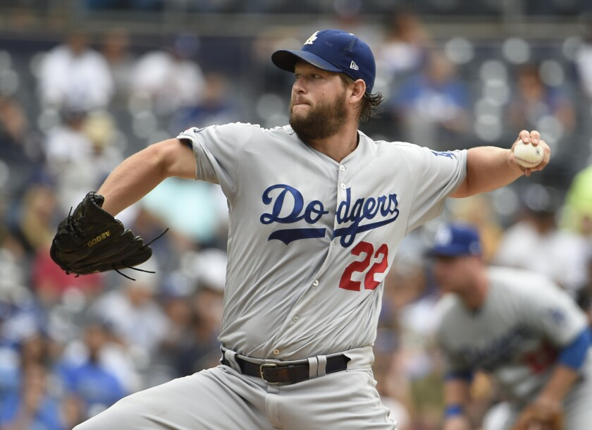 Dodgers pitcher Clayton Kershaw pitches during the the second inning against the San Diego Padres on Thursday in San Diego.