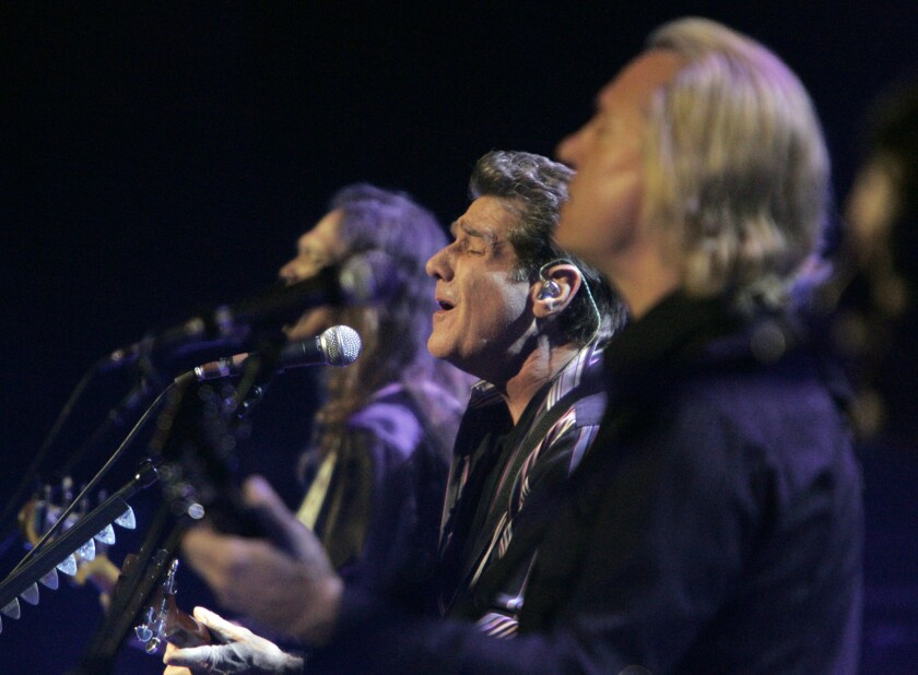 Glenn Frey, center, performs with other Eagles band members in Los Angeles in 2008.