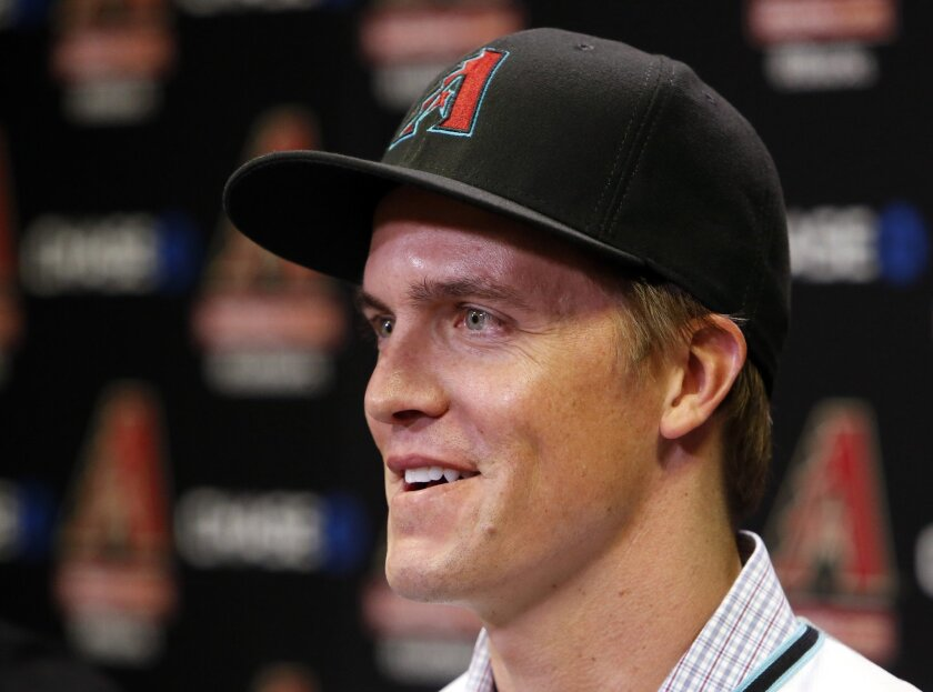 Arizona Diamondbacks pitcher Zack Greinke speaks at a news conference Friday in Phoenix.