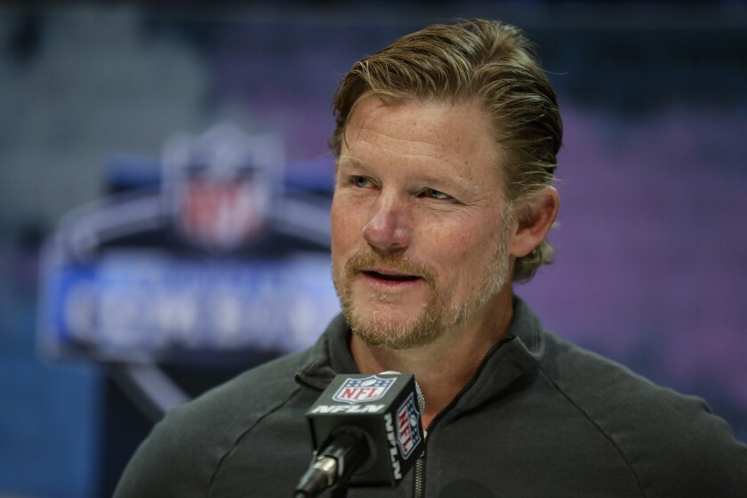 Rams general manager Les Snead speaks during a press conference at the NFL scouting combine in Indianapolis on Feb. 25.