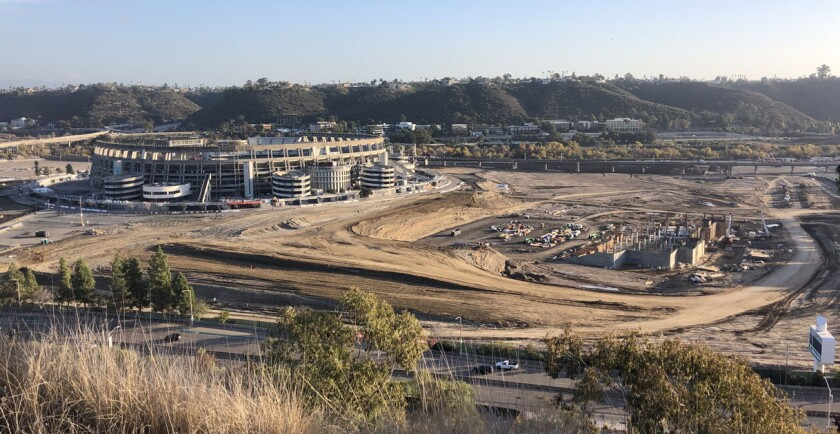 Vertical construction is evident now at the SDSU Mission Valley site where the new Aztec Stadium is being built.