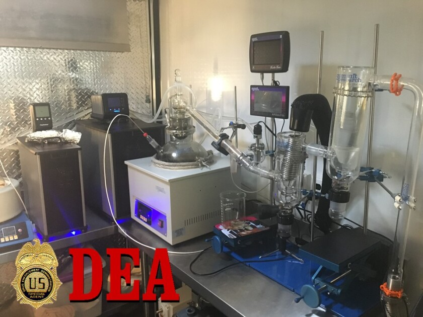An extensive hash-oil manufacturing lab was found in three trailers at a Warner Springs property on Thursday.