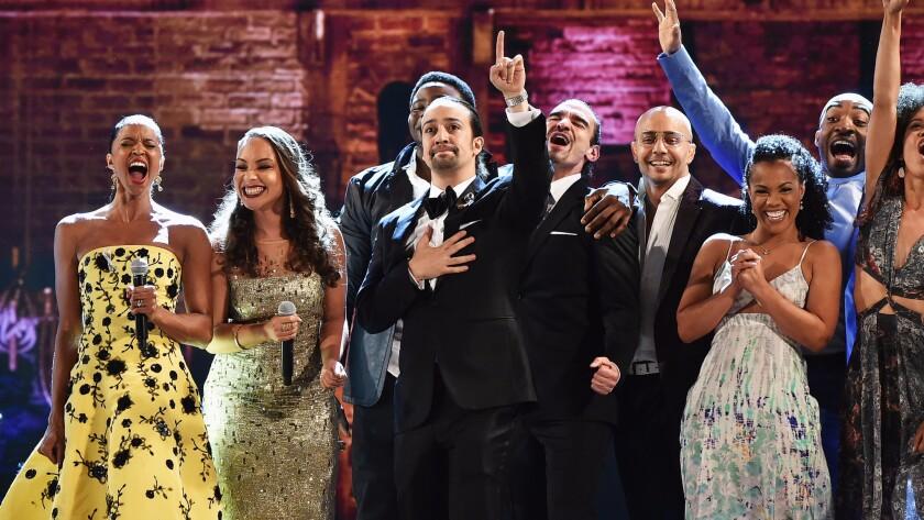 """Lin-Manuel Miranda, center, and the cast of """"Hamilton"""" at the 70th Tony Awards."""