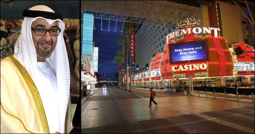 Fremont Street in Las Vegas, usually busy, is virtually vacant during the shutdown.