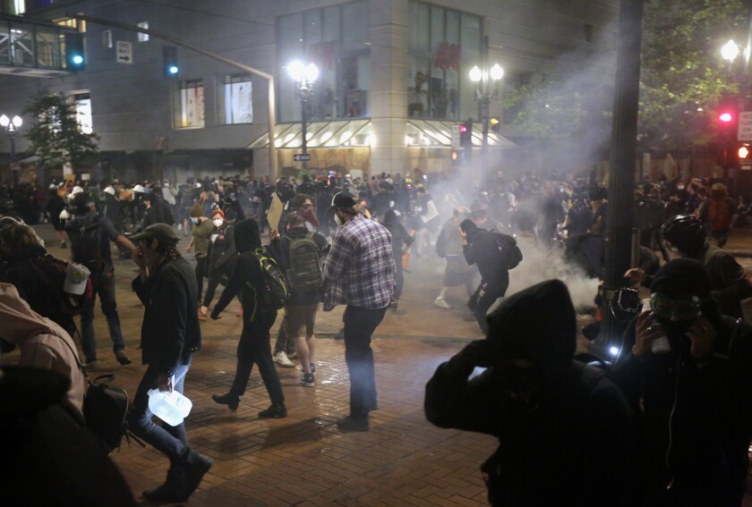 Protesters in downtown Portland