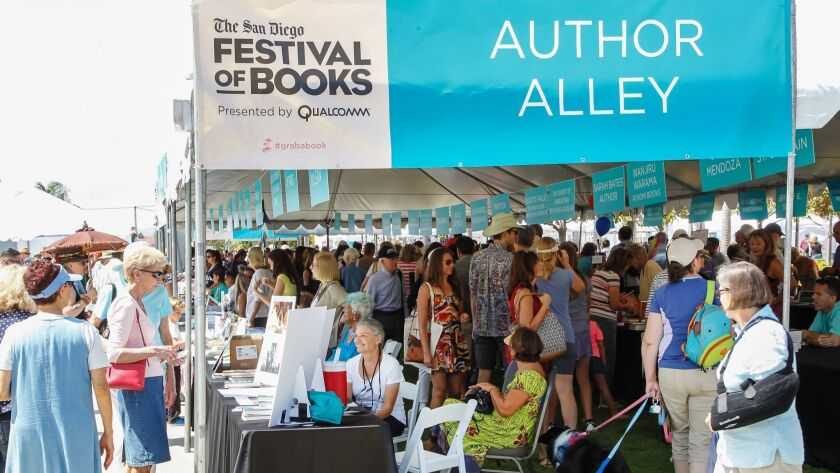Crowds gather at Liberty Station for The San Diego Festival of Books in San Diego, California.