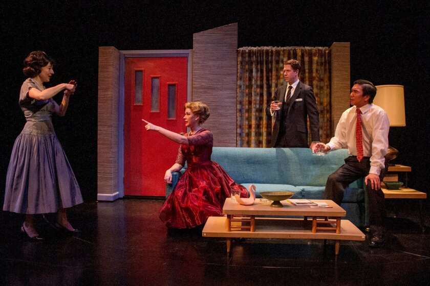 """Jo Anne Glover, Amanda Sitton, Jordan Miller and Greg Watanabe in a scene of charades in """"Maple and Vine"""" at Cygnet Theatre."""