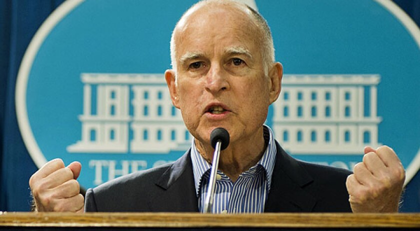 Gov. Jerry Brown at a news conference in Sacramento, Calif.