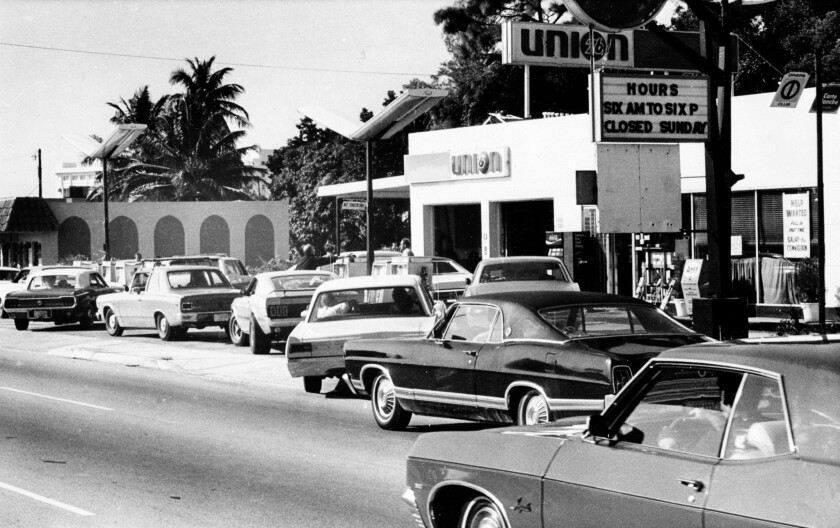 Motorists form a long line at a gas station in Miami on Dec. 29, 1973. The scene was played out all over the country as supplies of gasoline ran low because of the Arab oil embargo.