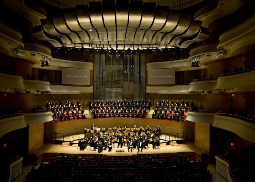 The Pacific Symphony at Segerstrom Center for the Arts in Costa Mesa.