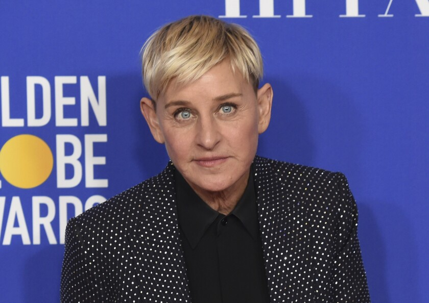 """FILE - Ellen DeGeneres, winner of the Carol Burnett award, poses in the press room at the 77th annual Golden Globe Awards on Jan. 5, 2020, in Beverly Hills, Calif. Three producers of her daytime show, """"The Ellen DeGeneres Show,"""" have exited amid complaints of a difficult and unfair workplace environment. (AP Photo/Chris Pizzello, File)"""