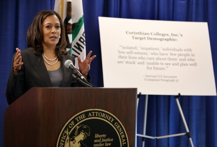 California Atty. Gen. Kamala Harris at a news conference after suing Corinthian Colleges in 2013, claiming the company deceived students through aggressive marketing.