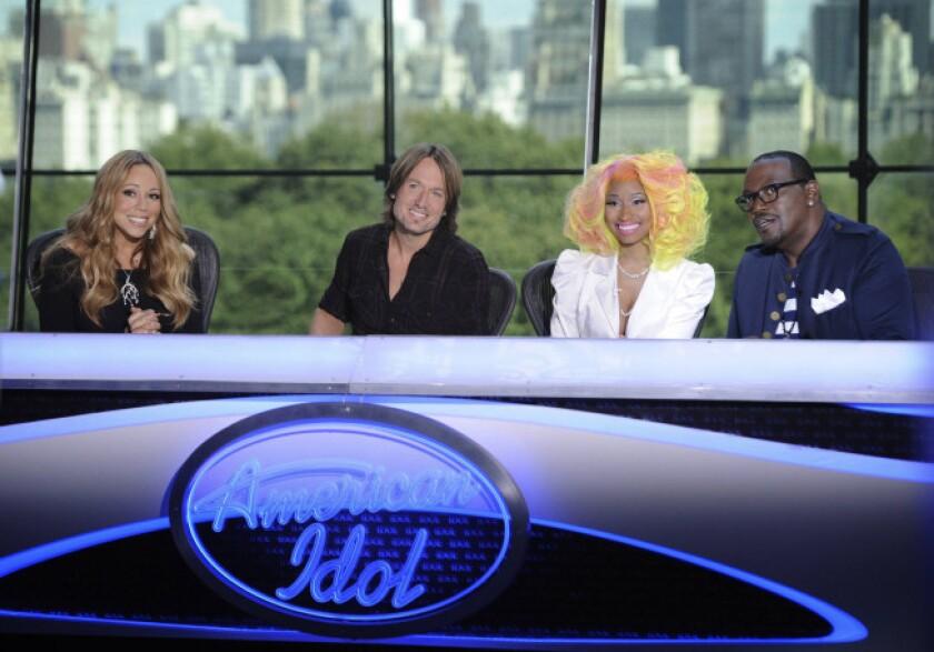 "Mariah Carey, from left, Keith Urban, Nicki Minaj and Randy Jackson at the ""American Idol"" New York auditions."