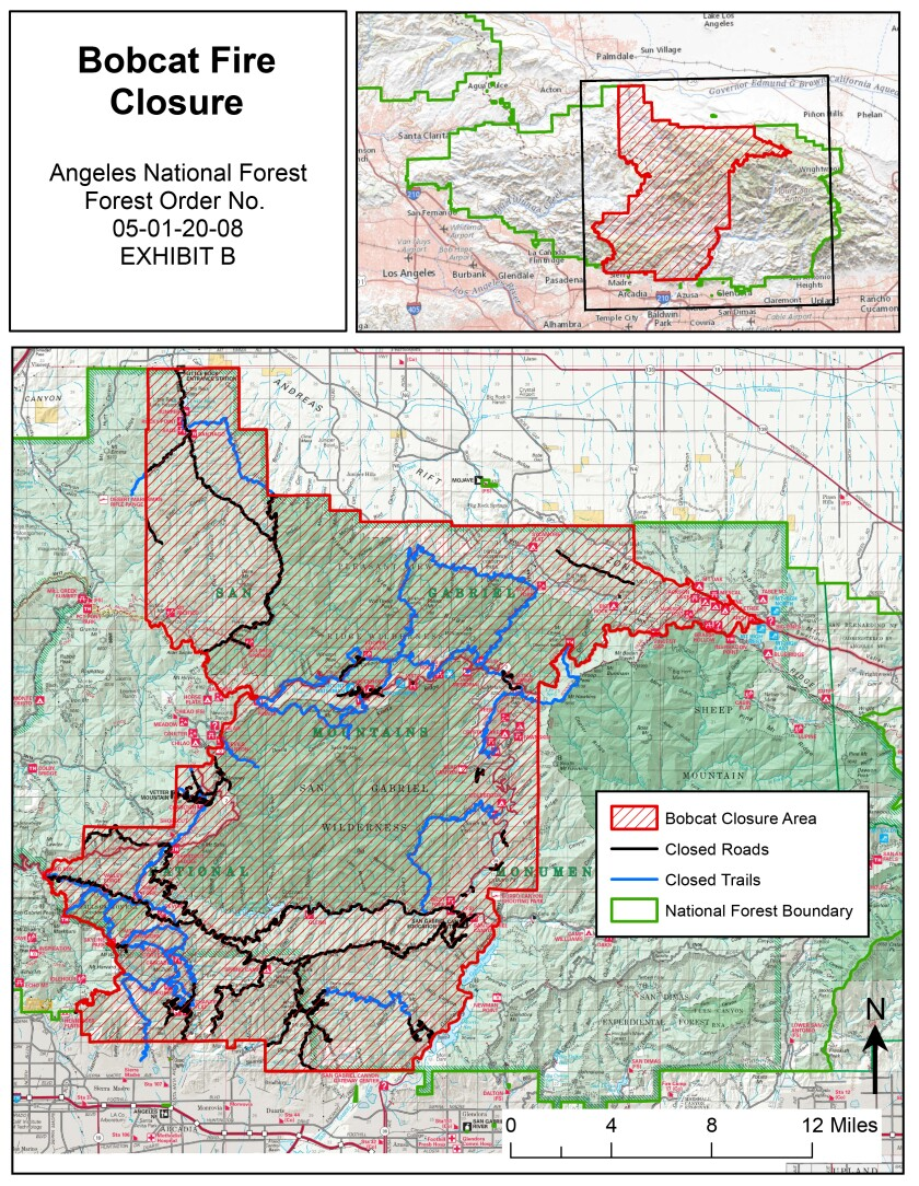 Map of the Angeles Forest closure area.