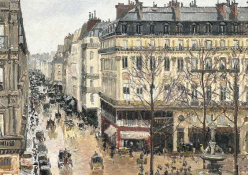 """A detail of Camille Pissarro's 1897 painting """"Rue Saint-Honore, apres-midi, effet de pluie."""""""