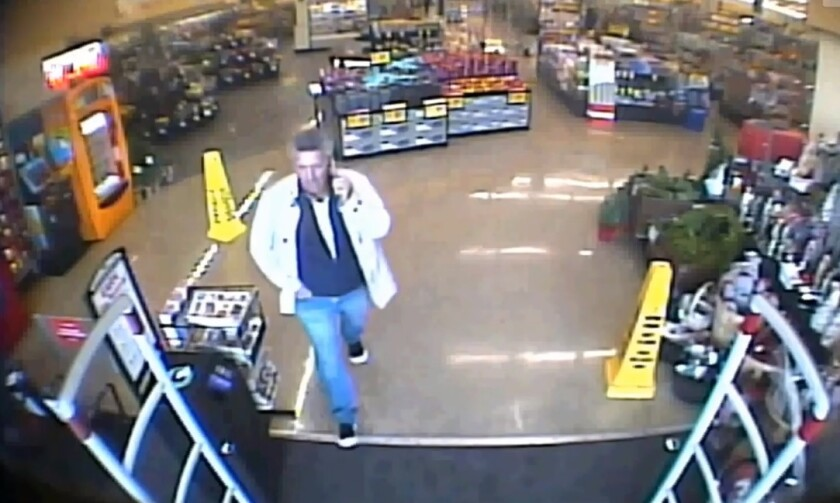 Authorities are searching for a man suspected of stealing 30 bags of frozen shrimp from a Vons store in Riverside.