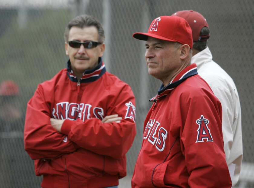 Bill Stoneman, right, then a consultant with the Angels, stands with team owner Arte Moreno back in 2008. Stoneman was named the Angels' interim general manager on July 1, 2015.