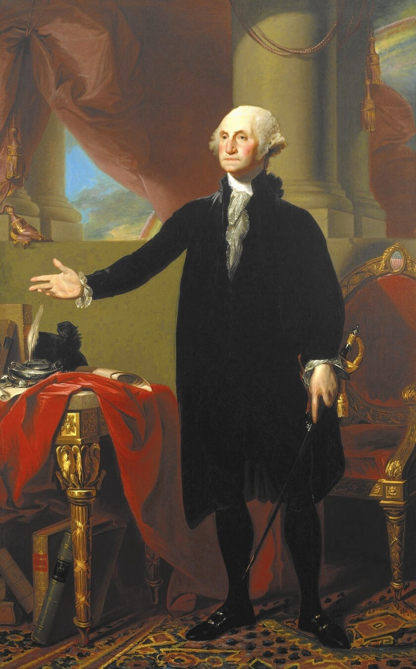 The Lansdowne portrait of George Washington, painted by Gilbert Stuart in 1796, showing him renouncing a third term as president of the United States.