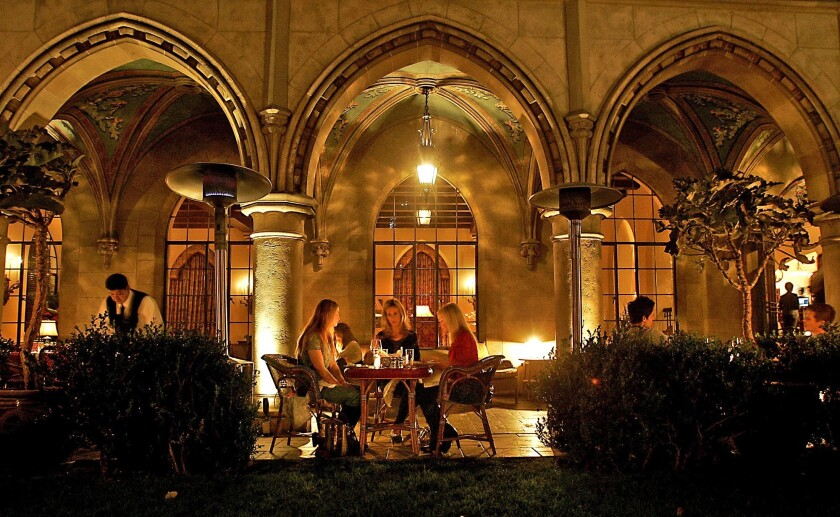 Guests dine outside at the Chateau Marmont.