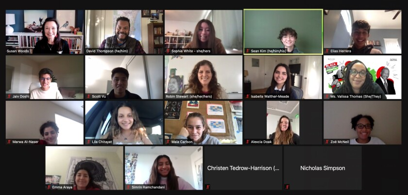 Students from The Bishop's School and La Jolla Country Day, Francis Parker and Pacific Ridge schools meet on Zoom.