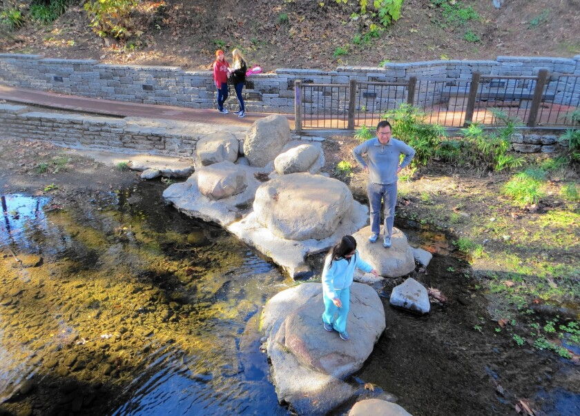The meandering creek running through San Luis Obispo is hard to resist. It's an ideal place for rock hopping.