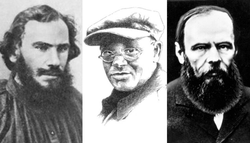 Leo Tolstoy, left, Isaac Babel and Feodor Dostoevsky.