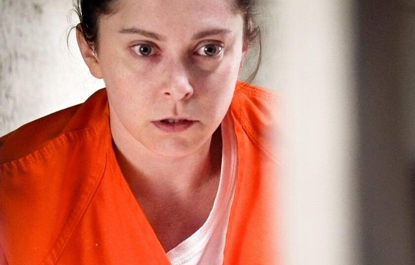 """Rebecca (Rachel Bloom) is behind bars on the fourth-season premiere of """"Crazy Ex-Girlfriend"""" on the CW."""