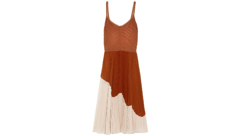 Jason Wu two-tone pleated crinkled-chiffon midi dress.