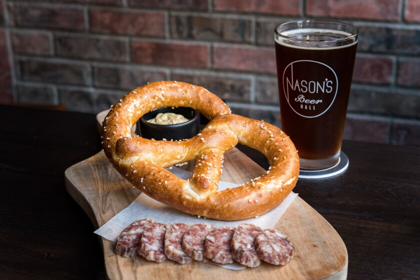 Enjoy a fresh house-made pretzel at Nason's Beer Hall.