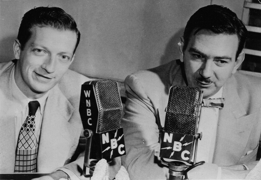 Bob Elliott, from left, and Ray Goulding in Studio 3E for their July 2, 1951, NBC network debut.