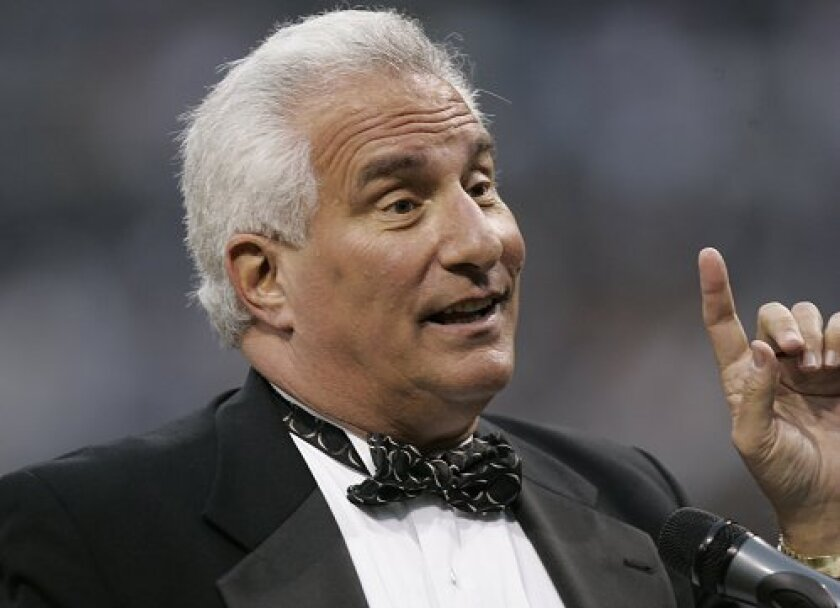 Sports broadcaster Ted Leitner, during the Padres home opener at Petco Park in 2007.
